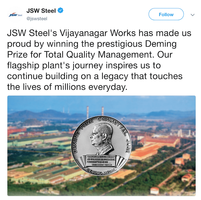image of Tweet by JSW Steel on receiving the Deming Prize