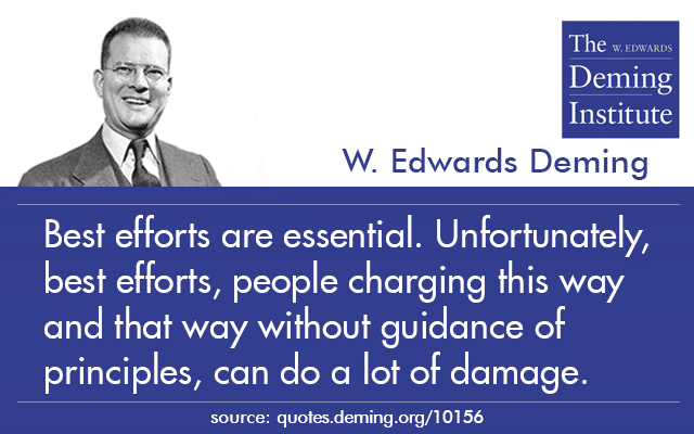 "image of quote by Dr. Deming ""Best efforts are essential. Unfortunately, best efforts, people charging this way and that way without guidance of principles, can do a lot of damage."""