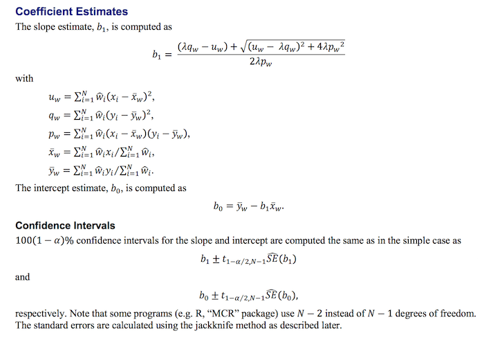 complex mathematical formulas relating to the Deming Regression