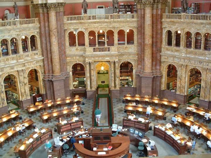 Main reading room in the Jefferson building