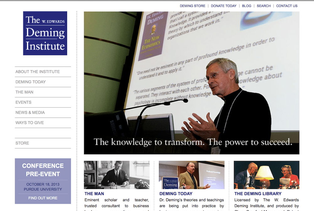 image of the New Deming Institute website home page
