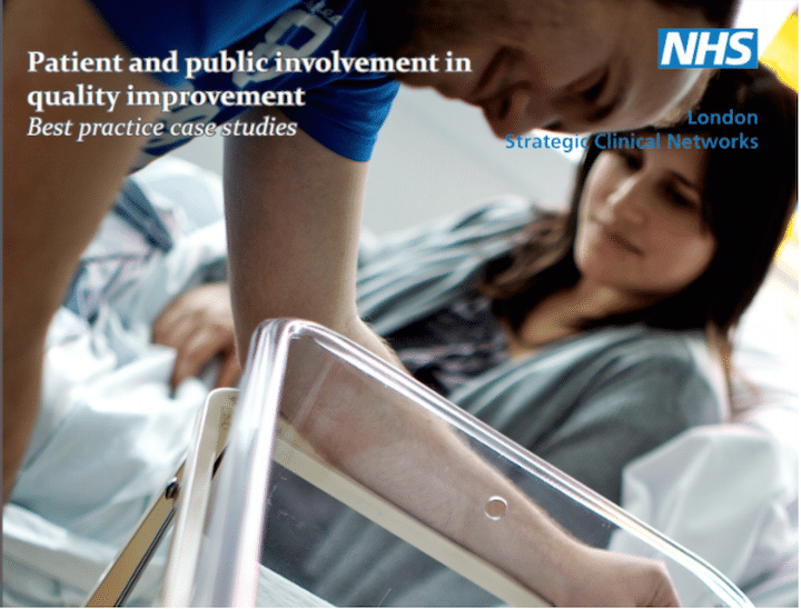 image of patient involvement in quality improvement graphic with image of new mother and father (presumably)