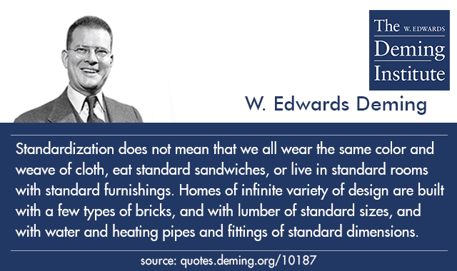 "graphic with the quote ""Standardization does not mean that we all wear the same color and weave of cloth, eat standard sandwiches, or live in standard rooms with standard furnishings. Homes of infinite variety of design are built with a few types of bricks, and with lumber of standard sizes, and with water and heating pipes and fittings of standard dimensions."""