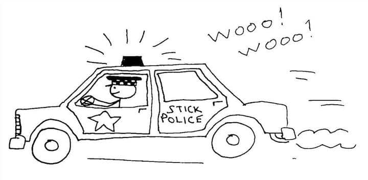 drawing of stick police car