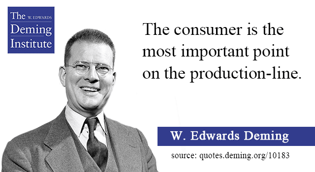 Image of the W. Edwards Deming quote 'The consumer is the most important point on the production-line.' with a photo of Dr. Deming