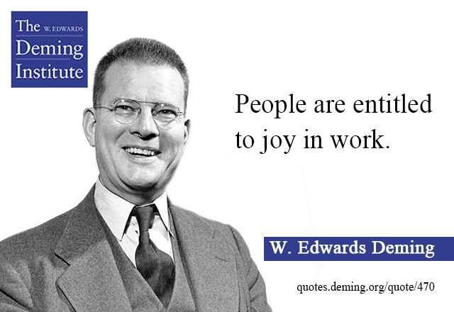 image of quote by Dr. Deming: People are entitled to joy in work.